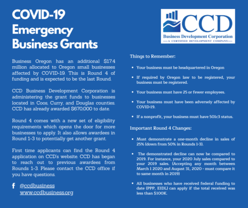 CCD Launches Round 4 Emergency Business Assistance Grant Program